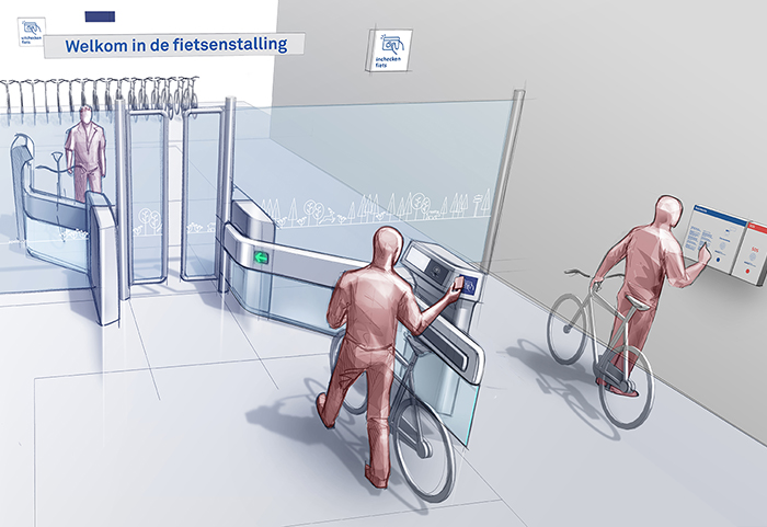 Self service bicycle gate impression